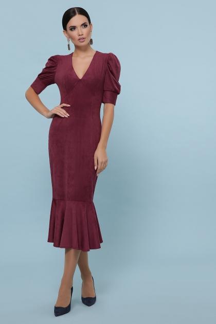 бордовое платье с воланом внизу. Платье Дания к/р. Цвет: бордо купить