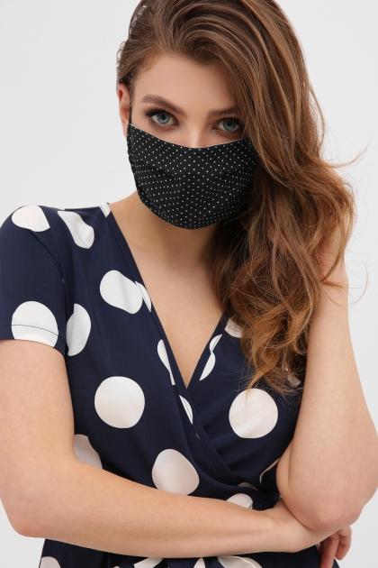 защитная черная маска. Маска №1. Цвет: черный-белый м. горох купить