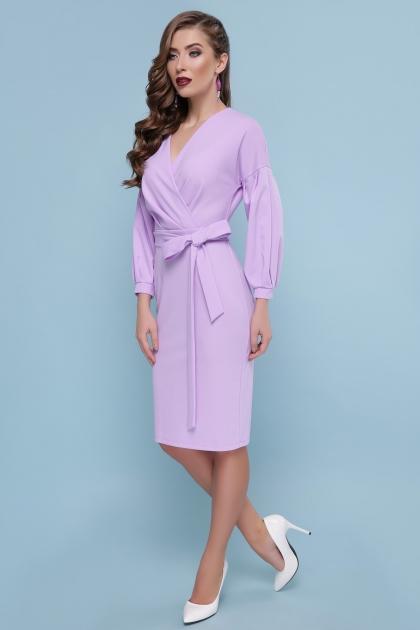 голубое платье с поясом. Платье Одри д/р. Цвет: лавандовый купить