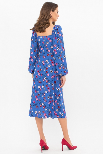 лавандовое платье с цветочным принтом. Платье Валия д/р. Цвет: джинс-цветочки цена