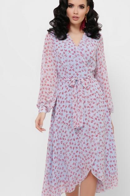 нежное платье на запах. Платье Алеста д/р. Цвет: голубой-цветы красн. купить
