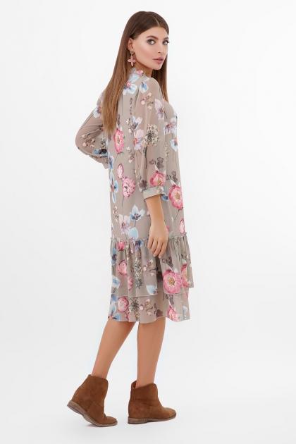 платье хаки из шифона. Платье Элисон 3/4. Цвет: оливка-цветы б. в Украине