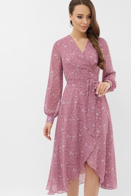 нежное платье на запах. Платье Алеста д/р. Цвет: лиловый-белый цветок купить