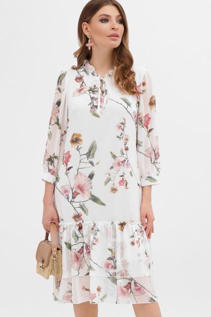 платье хаки из шифона. Платье Элисон 3/4. Цвет: белый-цветы б. купить