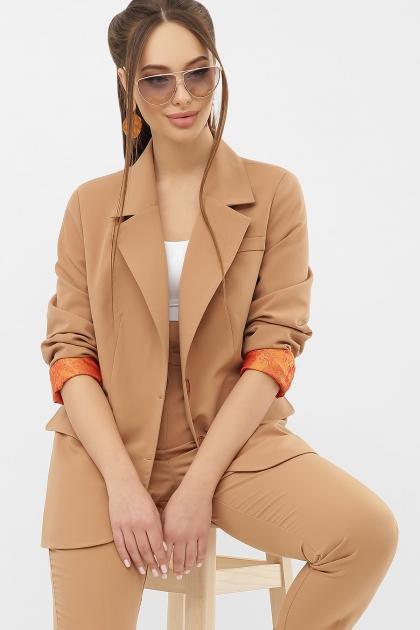 офисный пиджак цвета фуксии. Пиджак Сабера д/р. Цвет: бежевый в Украине