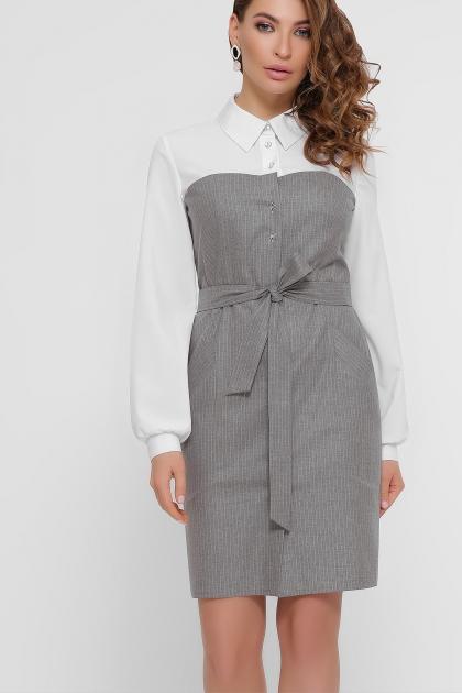 офисное серое платье. Платье Линси д/р. Цвет: серый-роз.полос-бел.отд цена