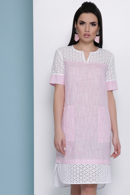 розовое льняное платье. Платье Сати к/р. Цвет: розовый цена