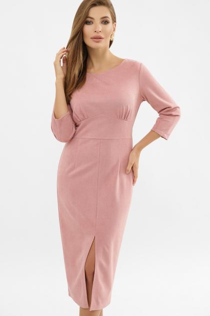 серое платье из замши. Платье Констанция 3/4. Цвет: пудра цена