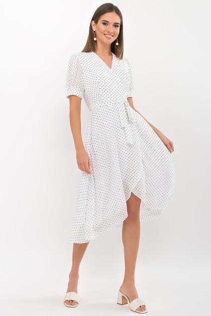 . Платье Алеста к/р. Цвет: белый-черный м. горох купить
