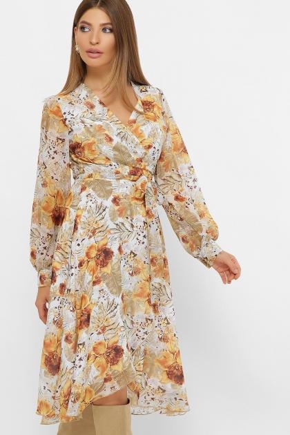 нежное платье на запах. Платье Алеста д/р. Цвет: белый-цветы оранж. купить